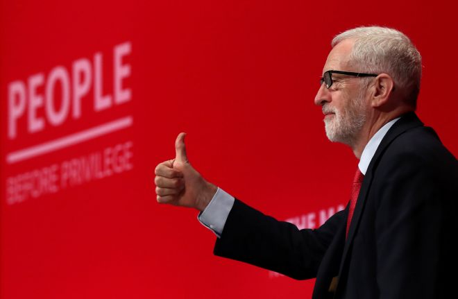 Labour leader Jeremy Corbyn at the party conference