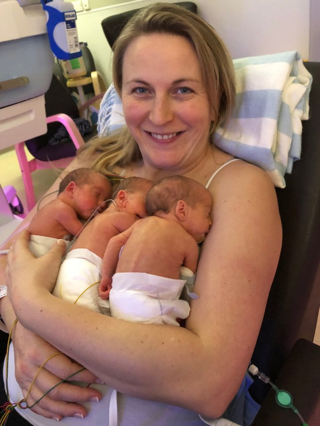 Rosie was shocked when the sonographer told her she would be having triplets