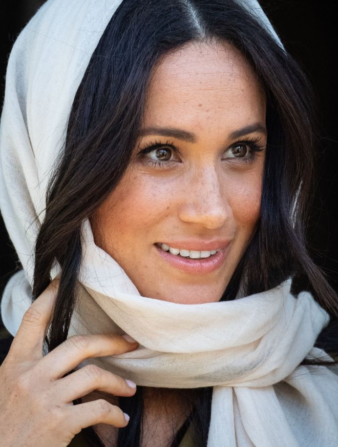 Meghan stunned in three outfits yesterday, including one that saw her wear a headscarf to visit a mosque