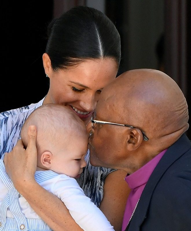 Archie received a kiss from Archbishop Desmond Tutu on day three of the royal tour