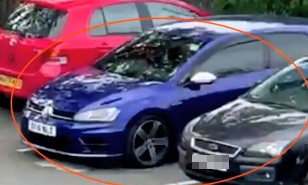 The thugs drove off in the purple vehicle, as shown in the footage released by police