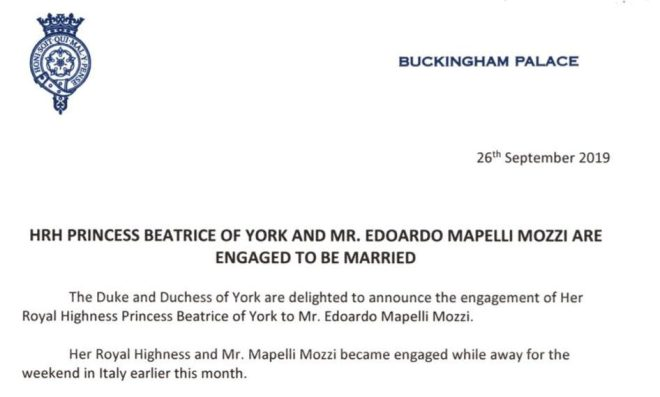 The palace announced the engagement today