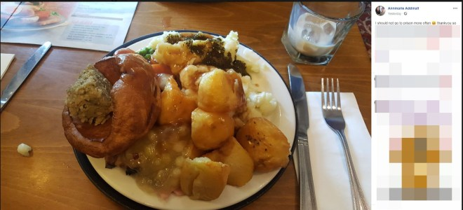 The mum shared this post on Facebook of her roast dinner on Friday