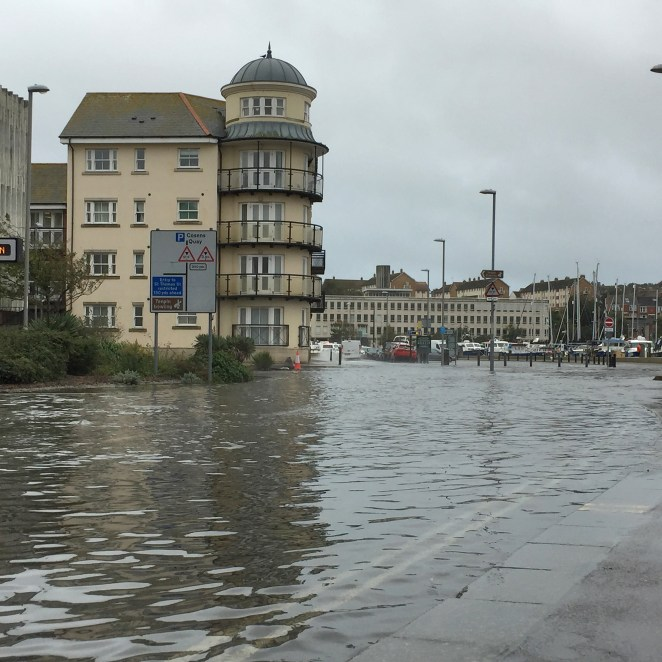 Dorset was battered by heavy rain and strong winds on Sunday, leaving Weymouth Harbour surrounded by inches of floodwater