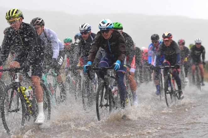 The route of the Road World Championships in North Yorkshire was altered so riders could battle on through the rain