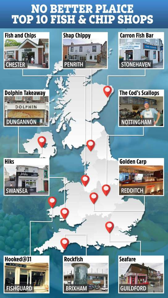 These are the top 10 fish and chip shops in the UK