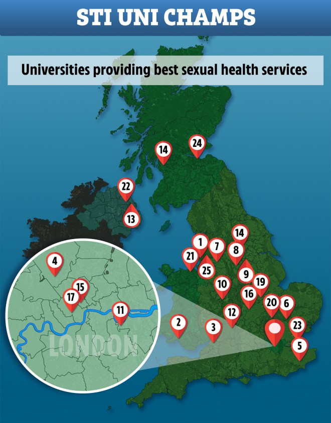 This map shows the universities rated best for sexual health services
