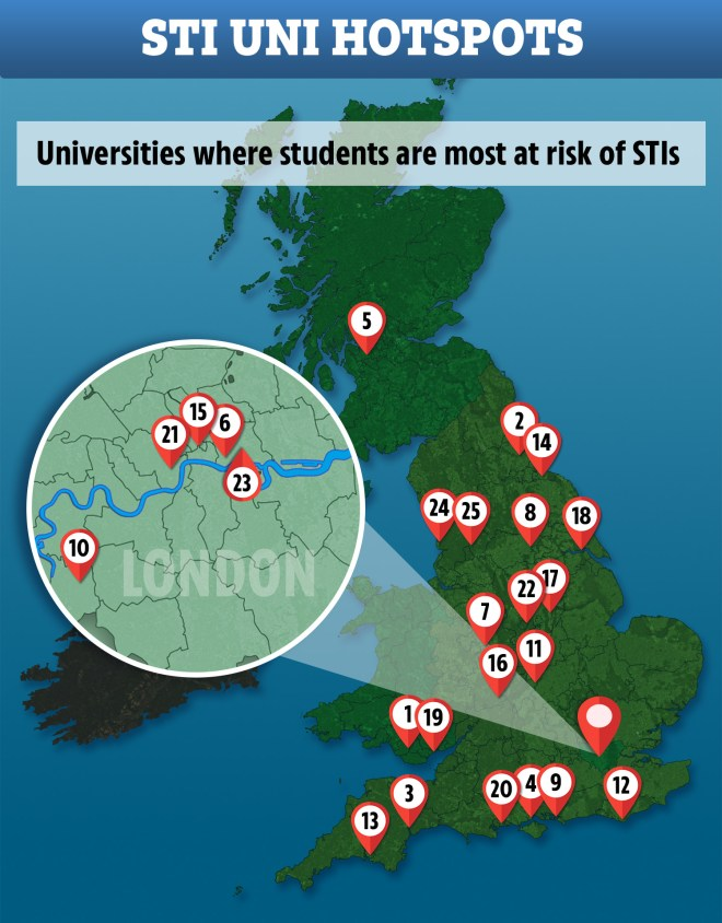 This map shows the universities rated worst for sexual health services