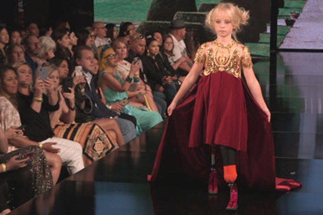 Daisy-May Demetre became the first double amputee child to walk at New York Fashion Week