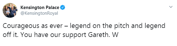 Prince William sent Gareth a message of support