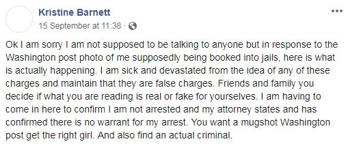 Ms Barnett denied the accusations in a Facebook post