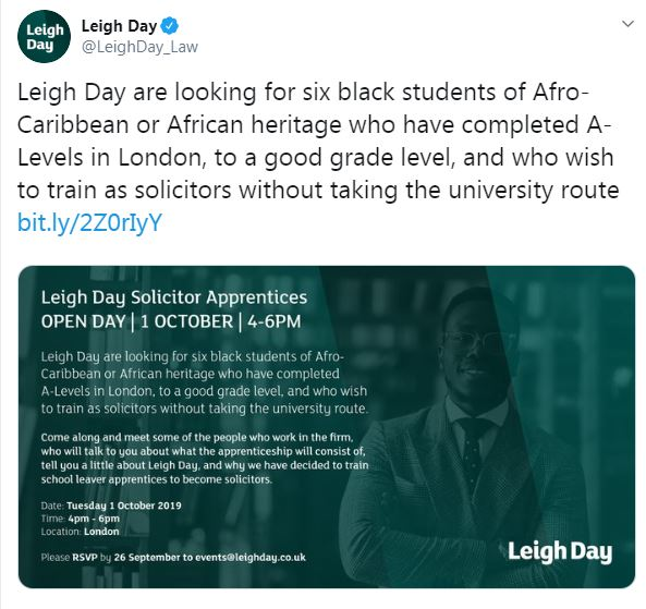 Leigh Day tweeted this advertisement for a new apprenticeship scheme