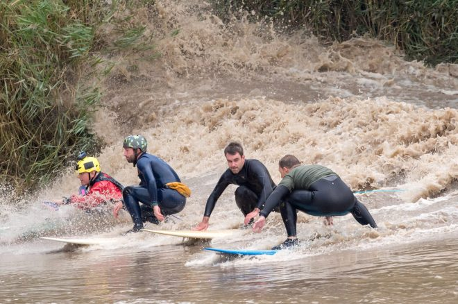 Daring surfers in Minsterworth, Gloucestershire, rode the River Severns tidal bore