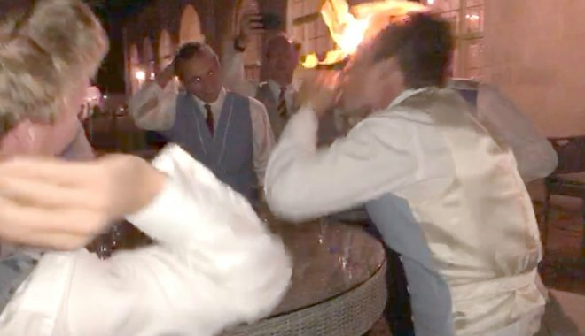 A posh guest panicked but was ordered to light up another friend's hair