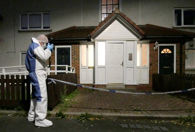 Forensics scour the area for clues after the double knife attack in Wallsend, North Tyneside