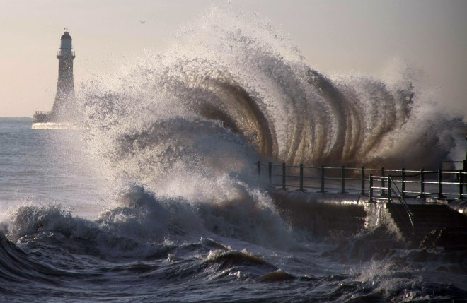 Huge waves have already been whipped up at Seaburn in Sunderland