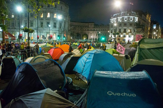 Protesters have set up tents in Trafalgar Square for the second night in a row