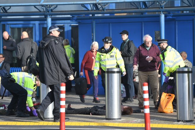 There was a heavy police presence outside London City Airport this morning