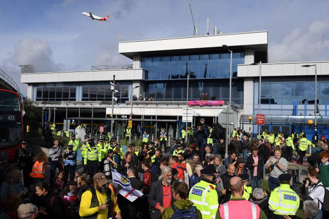 There was a huge police presence outside London City Airport today