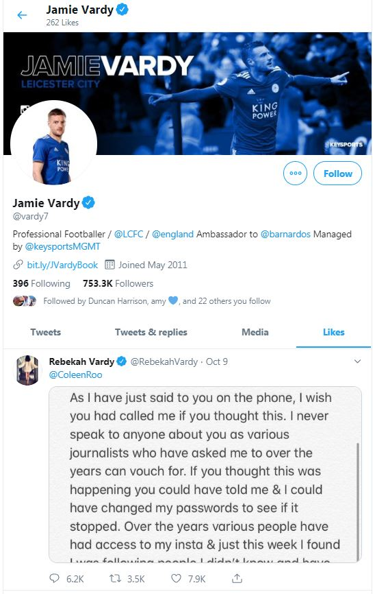 Vardy liked his wife's tweet when she replied to Coleen Rooney's explosive statement