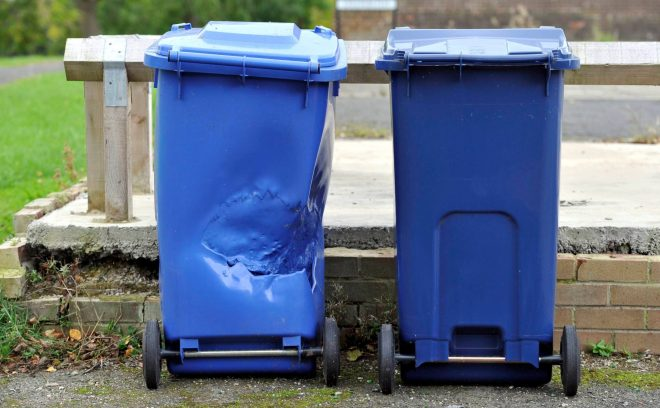 Youths have damaged bins in the area