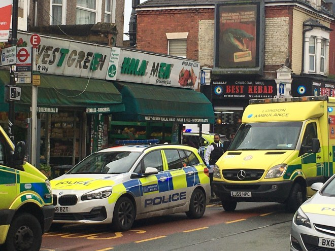 Two men were stabbed in broad daylight this morning