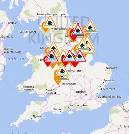 This map shows the flood warnings and alerts in place across the UK on Friday morning