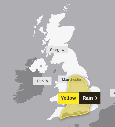 The Met Office has issued a 'severe' yellow weather warning for rain today