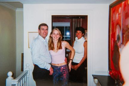 Prince Andrew and his accuser Virginia Roberts with Ghislaine Maxwell
