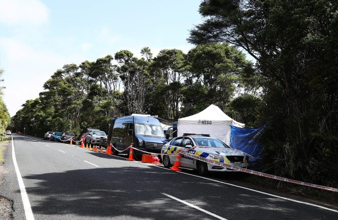 New Zealand police investigate at the location where Grace's body was found