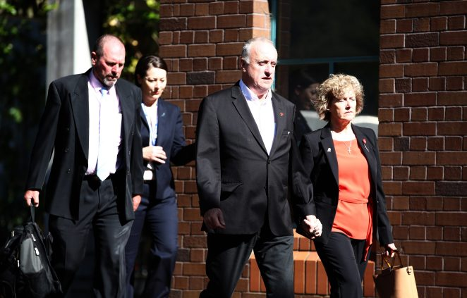 Grace's parents David and Gillian Millane arrive at the Auckland High Court as the trial of their daughter's alleged killer continues