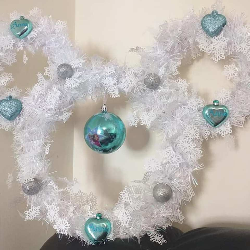 Mum creates incredible Frozen-inspired Christmas wreath for £3.15 using bargains from eBay & B&M