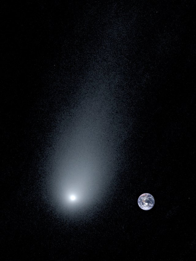 A closeup of the interstellar object 2I/Borisov with earth superimposed to its right for scale. The comet's tail stretches 100,000 miles long, more than 12 times the diameter of Earth