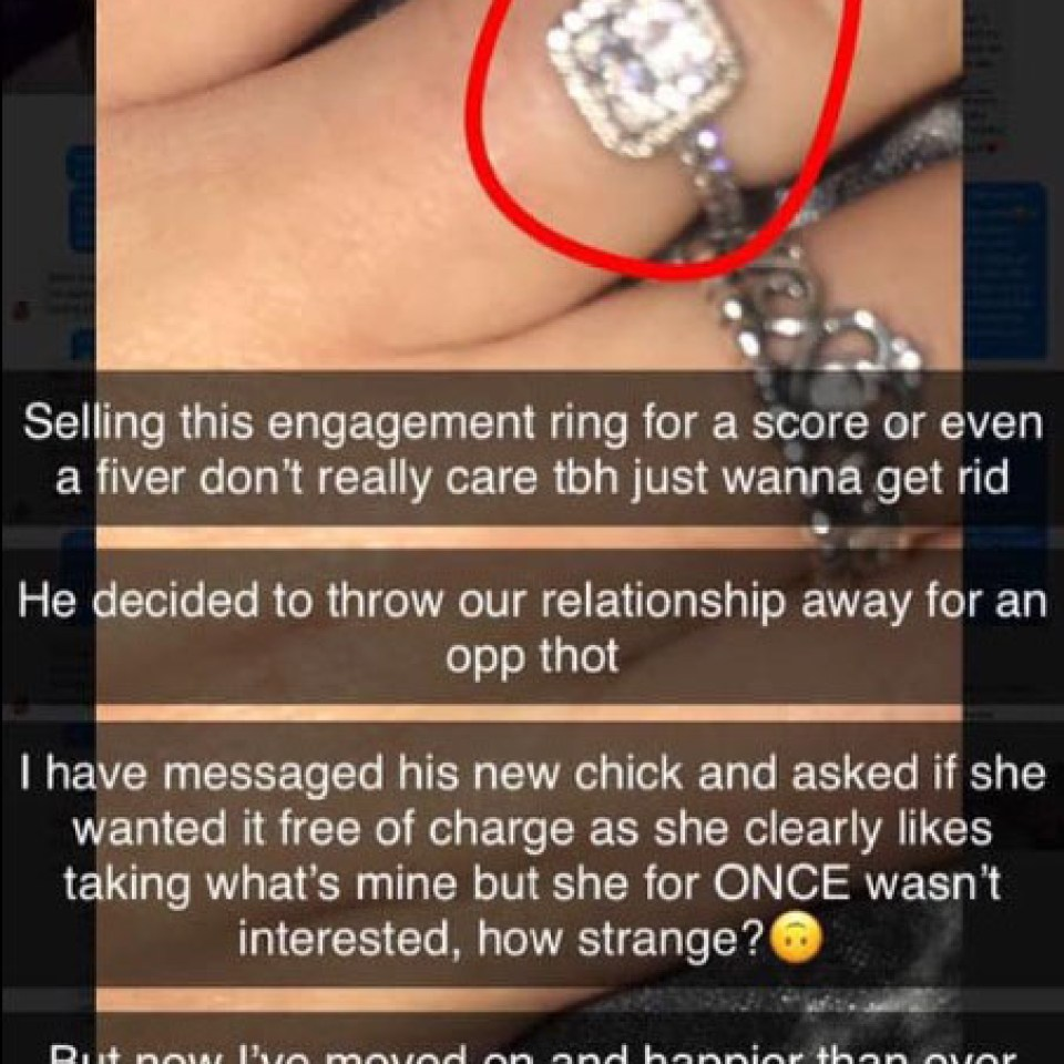 Woman puts engagement ring up for sale for £5 after offering it to ex's girlfriend for free as 'she likes what