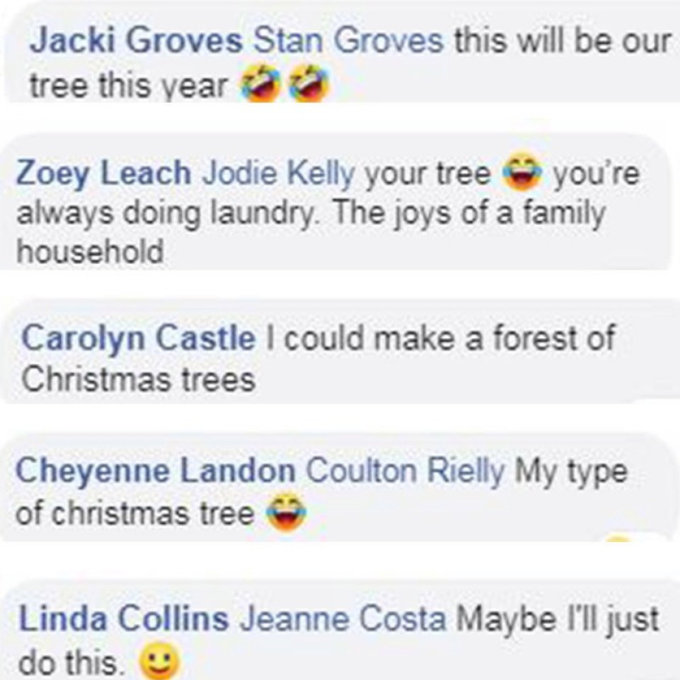 Mums moulds her massive dirty laundry pile into a Christmas tree with a star on top, and others can't get e