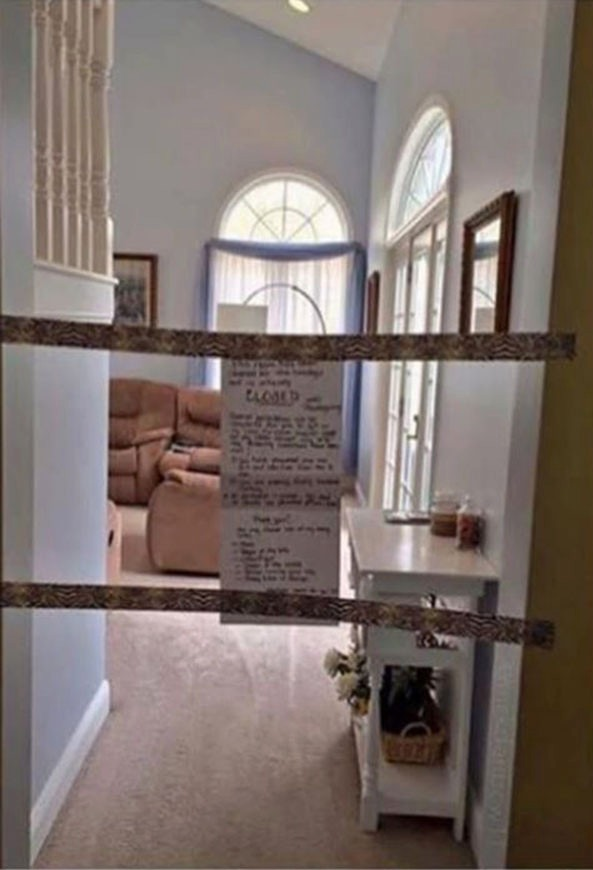 The mum used some tape to declare the living room was out of bounds
