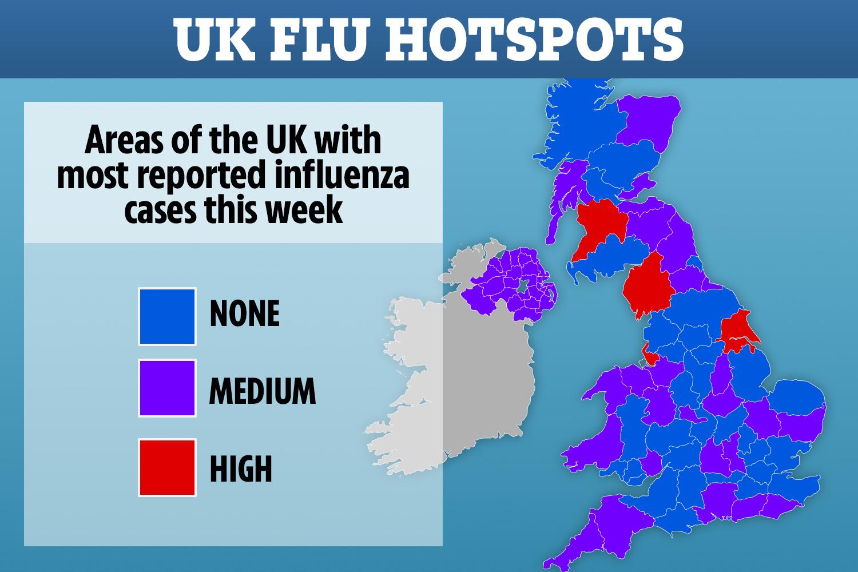 UK flu hotspots revealed as health bosses warn cases soar by 25 ...