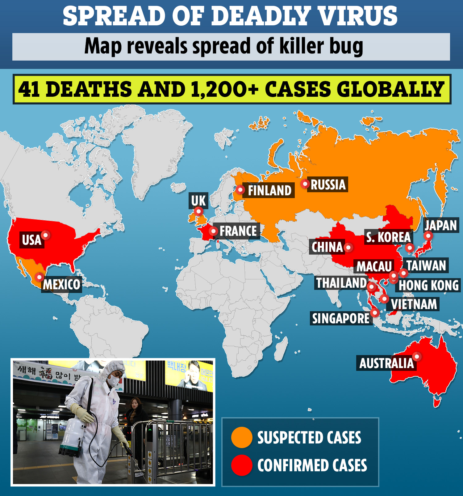 Coronavirus death toll soars to 41 as more than 1,200 cases of ...