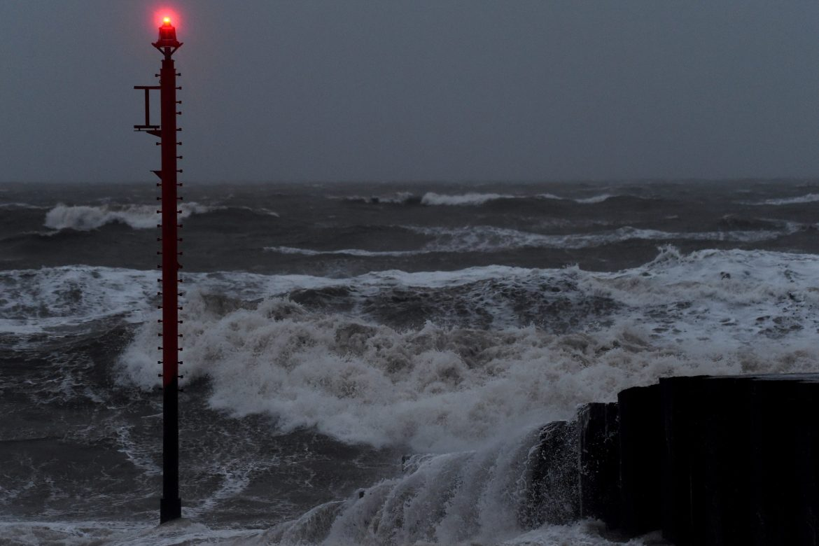 UK weather forecast: winds broke the waves against the West Bay coast in Dorset