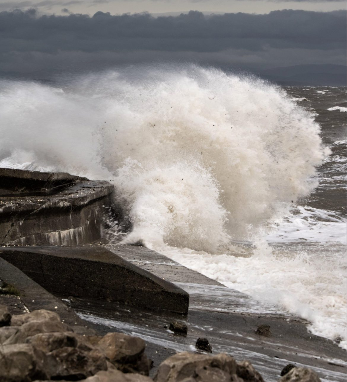 UK weather forecast: storms hit the coast of Roosebeck, Cumbria