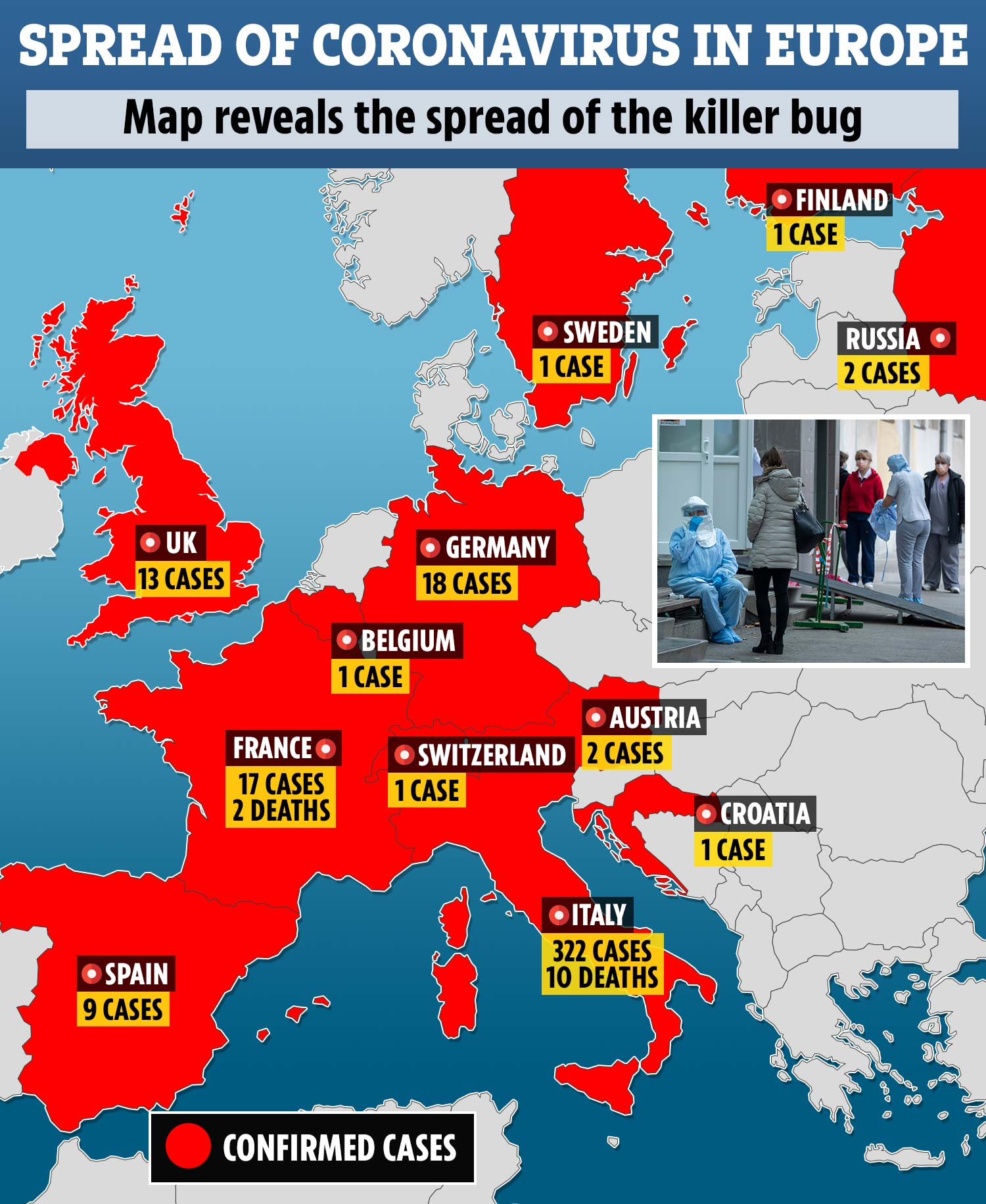 Coronavirus spreads to MORE European countries as Switzerland ...