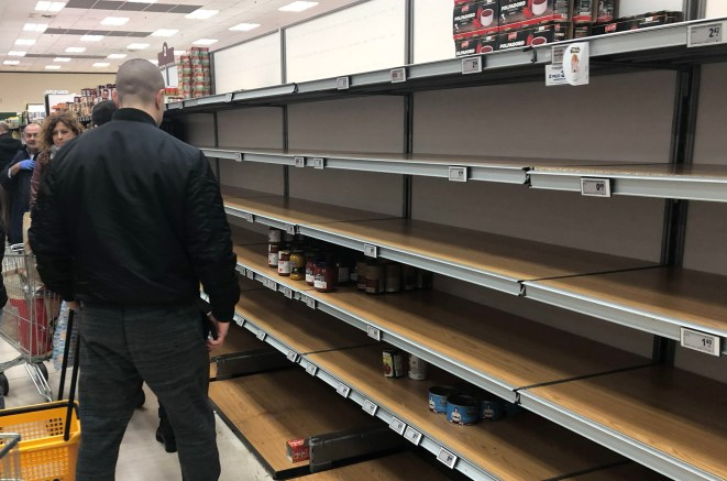 Panicking Italians have cleared supermarket shelves of food and drink