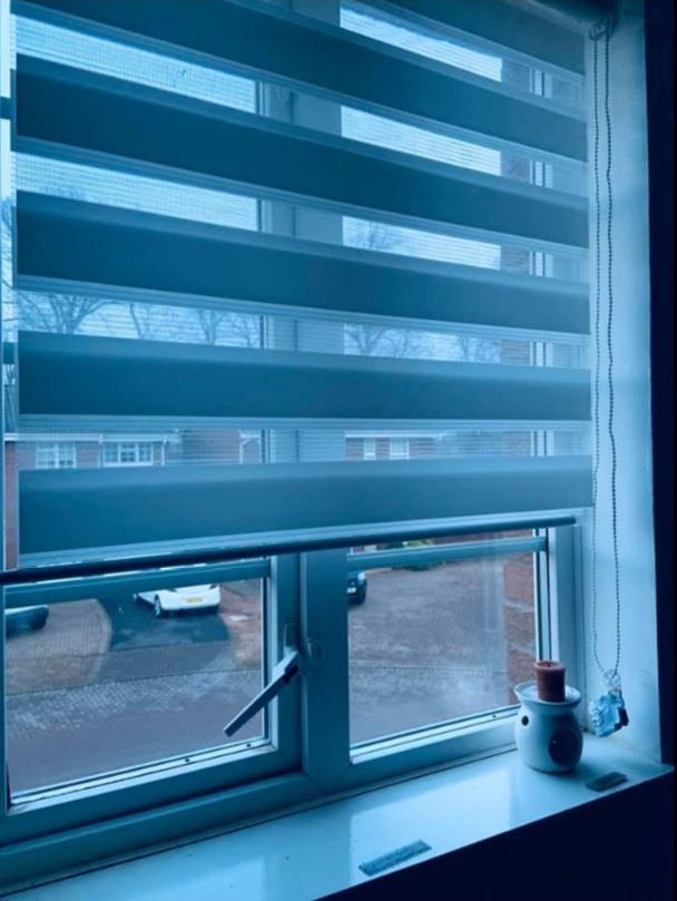 The blinds have two settings, with one mode allowing some light through