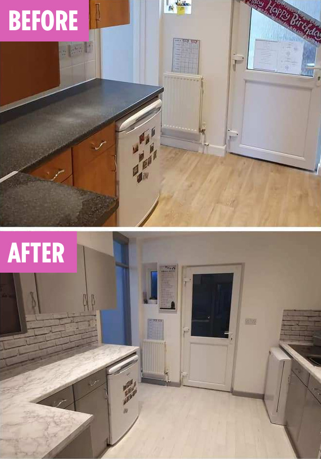 Mum Transforms Kitchen Into Stunning Space Using The Range Wallpaper For 3 And Wilko Furniture Paint