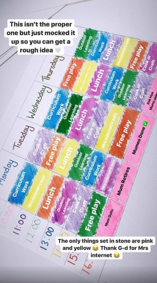 Earlier this week she shared the very organised schedule she had in place for he children's time at home
