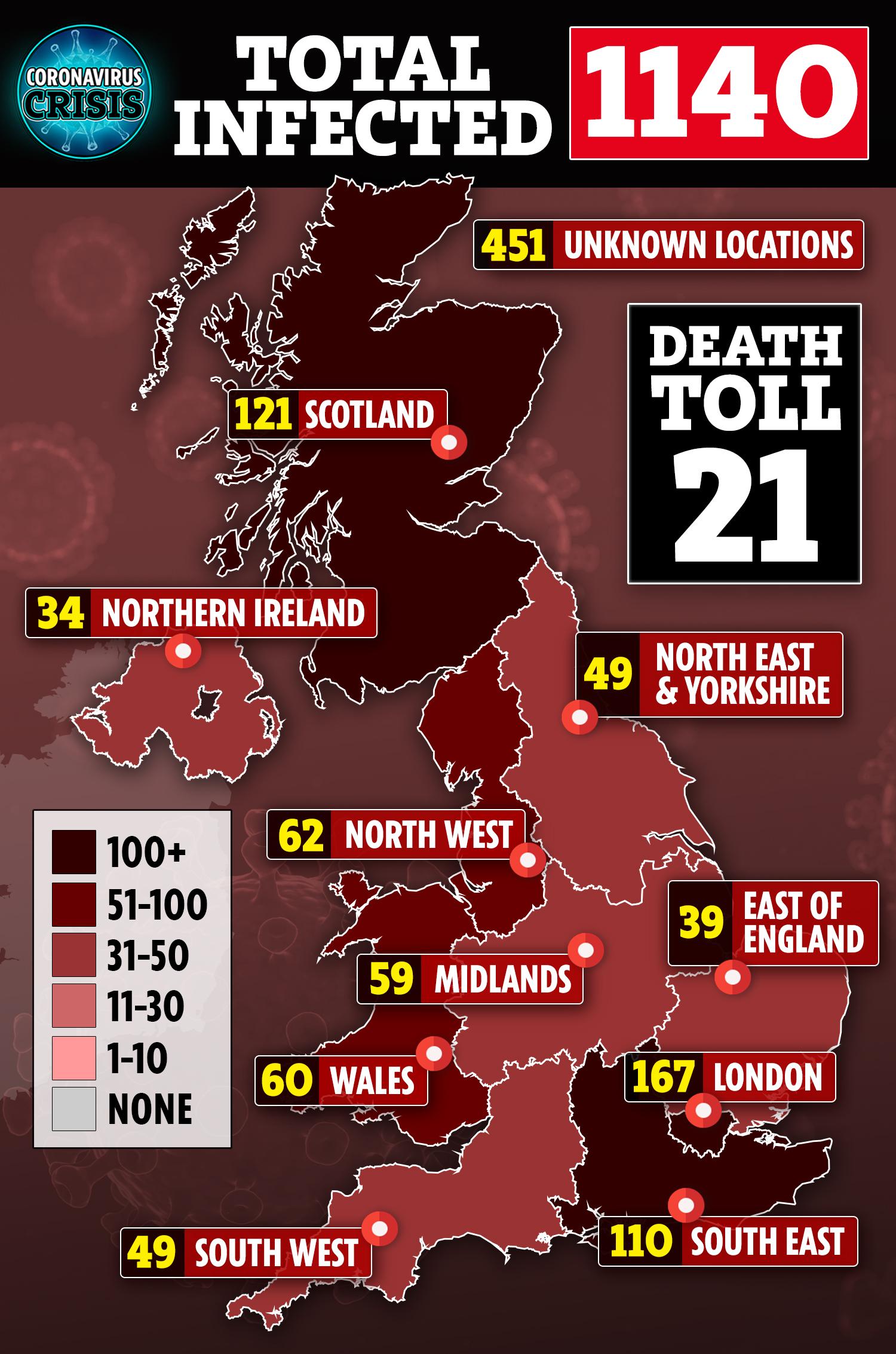 Newborn baby in London has coronavirus as UK cases soar to 820 and ...