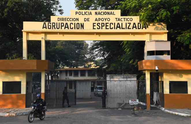 The entrance of the National Police headquarters in Asuncion, where Ronaldinho and his brother Roberto Assis are being held