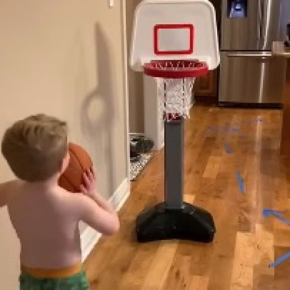 Her viral video sees her son darting all over the house to complete the course