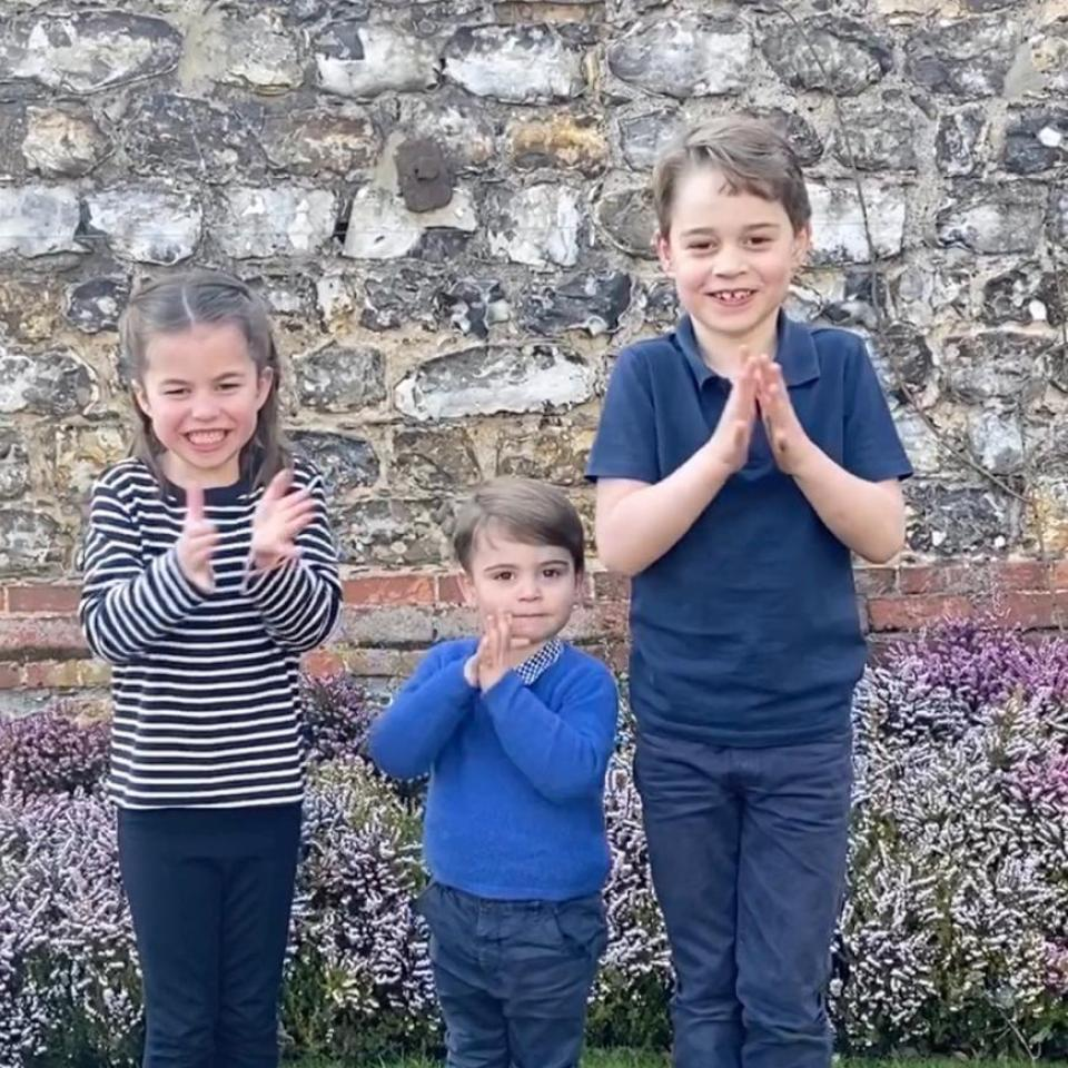 Princess Charlotte, Prince Louis and Prince George (left-right) clapped for the NHS on Thursday – along with thousands of Brits