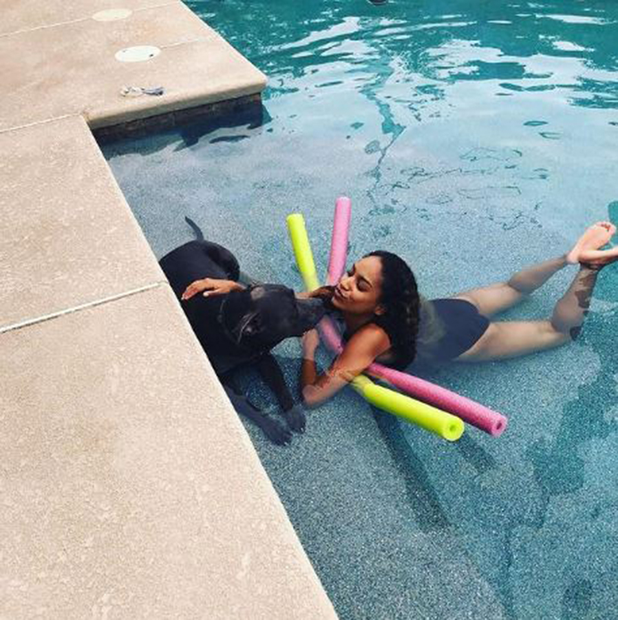 Tianna and King relaxing in the pool together